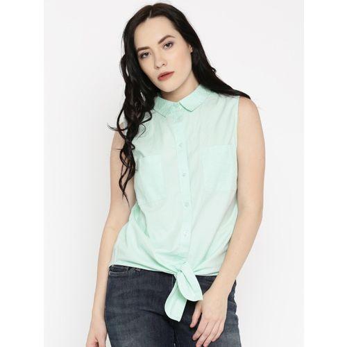 Only Women Solid Casual Light Green Shirt