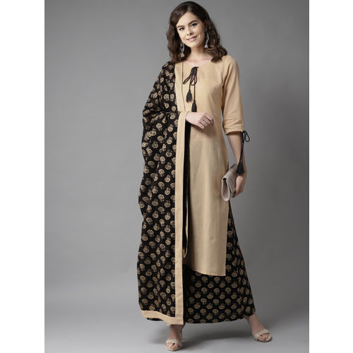 HERE&NOW Women Beige & Black Solid Kurta with Palazzos & Dupatta