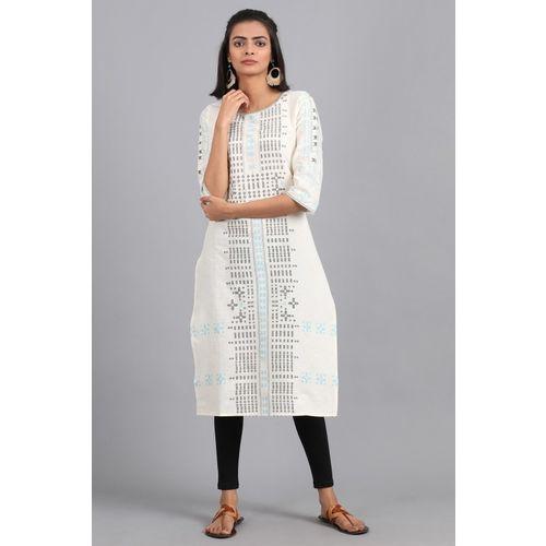 W Women Geometric Print Straight Kurta(White)