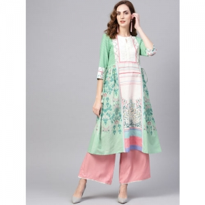 W Women Off-White & Green Printed Panelled A-Line Kurta