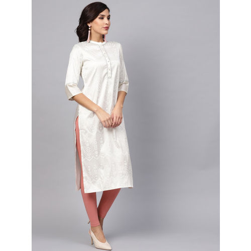 W Women Off-White & Silver Printed Straight Kurta