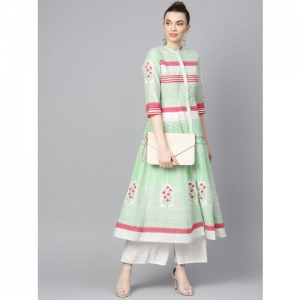 W Women Green & Pink Printed Anarkali Kurta