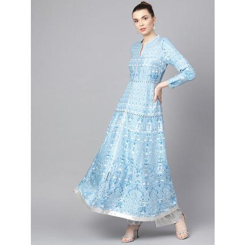 W Women Blue & White Printed Anarkali Kurta