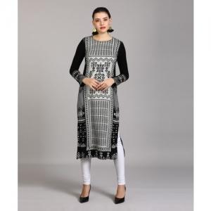 W Women Self Design Straight Kurta(White, Black)