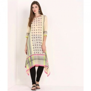 W Women Printed Trail Cut Kurta(Beige)