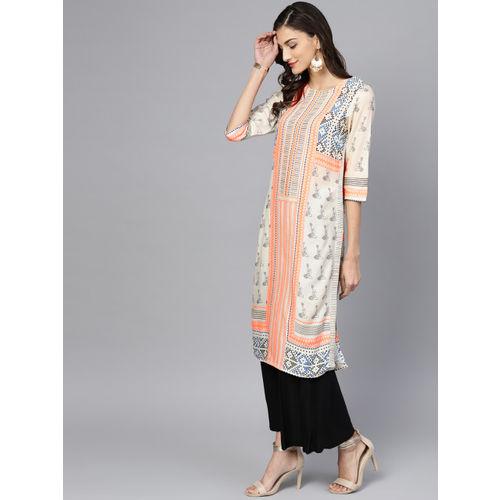 W Women Off-White & Orange Printed Straight Kurta
