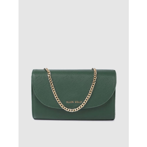 Allen Solly Green Solid Foldover Clutch