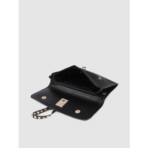 E2O Black Solid Envelope Clutch