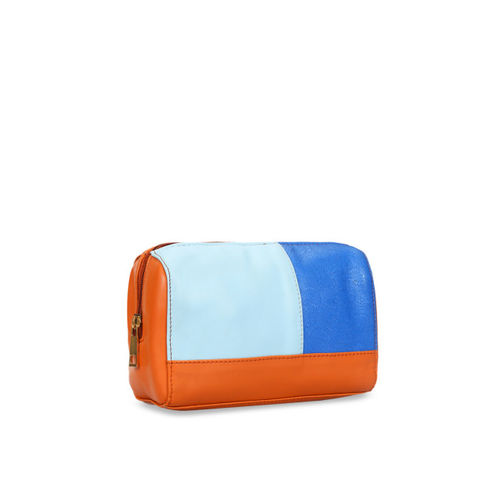 Berrypeckers Blue & Tan Brown Colourblocked Clutch