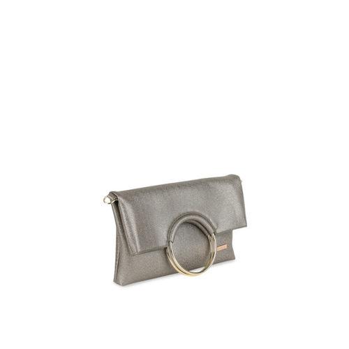 Kazo Gunmetal-Toned Solid Foldover Clutch