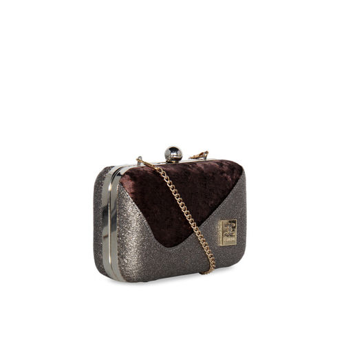 ESBEDA Women Brown & Grey Colourblocked Clutch