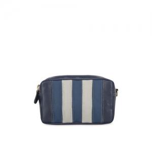 yelloe Blue Striped Pouch