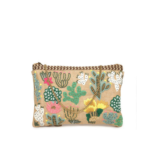 ALII AND ALIIZEY Beige Embroidered Clutch