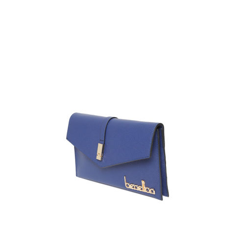 United Colors of Benetton Navy Blue Textured Clutch