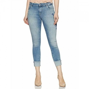 ONLY Womens Skinny Fit Embroidered Jeans_Blue_25