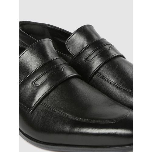 Ruosh Men Black Leather Formal Slip-On Shoes