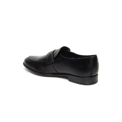 Ruosh Men Black Formal Leather Slip-On Shoes