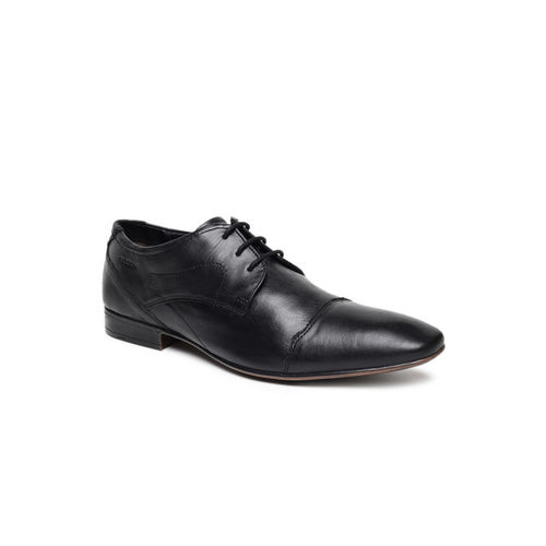 Ruosh Men Black Solid Leather Derbys