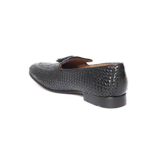 Ruosh Men Black Basketweave Texture Leather Semiformal Slip-Ons