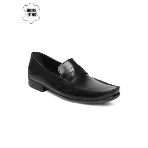 Ruosh Men Black Genuine Leather Formal Loafers