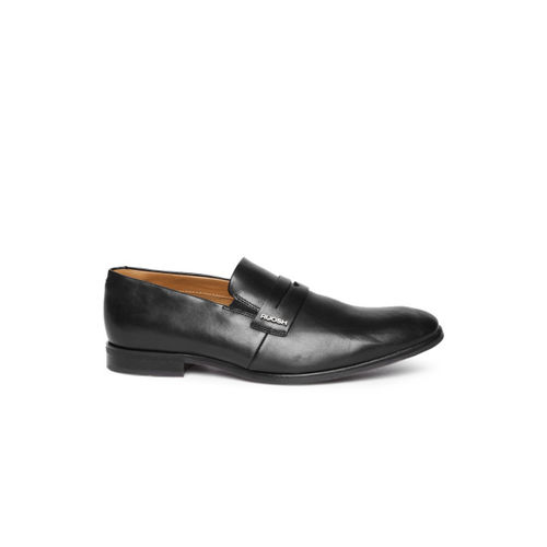 Ruosh Men Black Leather Formal Slip-Ons