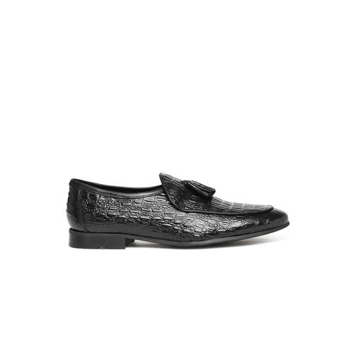 Ruosh Men Black Textured Ocassion Genuine Leather Semi-formal Slip-ons