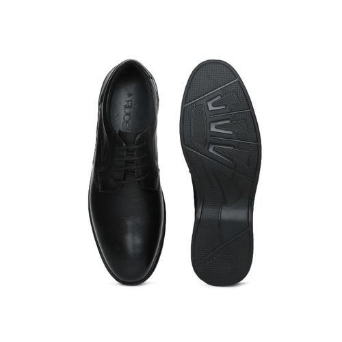Ruosh Men Black Genuine Leather Formal Derbys
