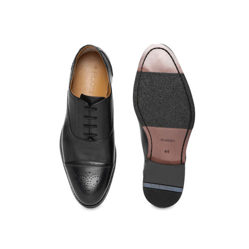 Ruosh Men Black Leather Formal Brogues