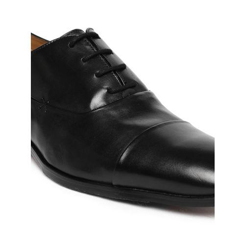 Ruosh Men Black Genuine Leather Work Formal Oxfords