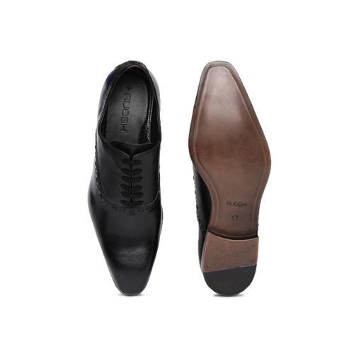 Ruosh Men Black Genuine Leather Formal Oxfords