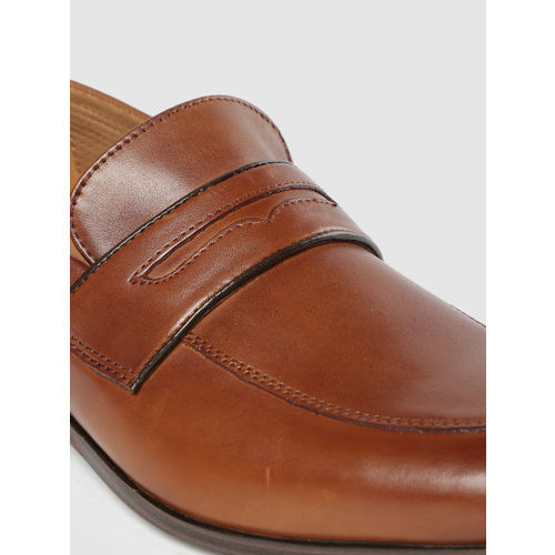 Ruosh Men Brown Leather Formal Slip-On Shoes