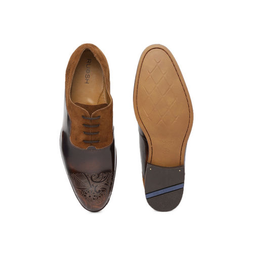 Ruosh Men Brown Formal Leather Oxfords