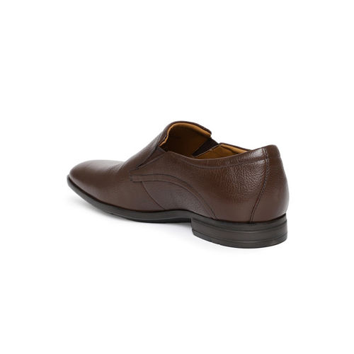 Ruosh Men Brown Solid Formal Leather Slip-on Shoes