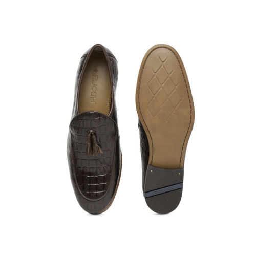 Ruosh Brown Textured Ocassion Genuine Leather Semi-formal Slip-ons