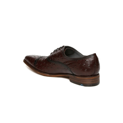 Ruosh Men Brown King Textured Genuine Leather Oxfords