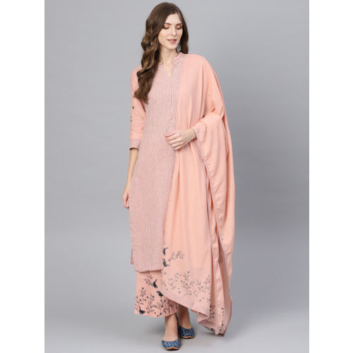Biba Women Peach-Coloured & Black Striped Kurta with Palazzos & Dupatta