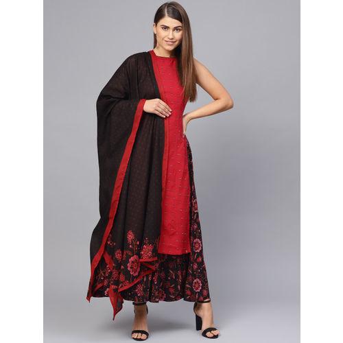 Biba Women Red & Black Embroidered Kurta with Palazzos & Dupatta