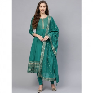 Biba Women Teal Green & Golden Yoke Design Anarkali Kurta with Churidar & Dupatta