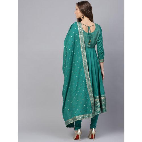 Biba Women Teal Green & Golden Yoke Design Anarkali Kurta with Churidar & Dupatta