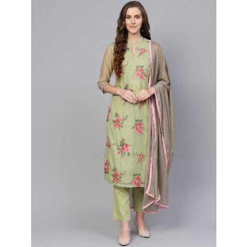 Biba Women Green & Pink Embroidered Lace Kurta with Trousers & Dupatta