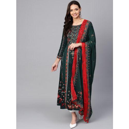 Biba Women Teal Green & red Printed Kurta with Trousers & Dupatta