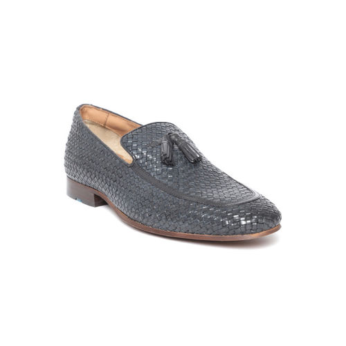 Ruosh Men Navy Blue Basketweave Texture Leather Semiformal Slip-Ons