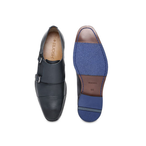 Ruosh Men Navy Blue Leather Formal Monk Shoes