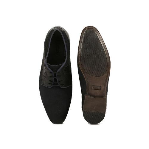 Ruosh Work Men Navy Semiformal Suede Derby Shoes