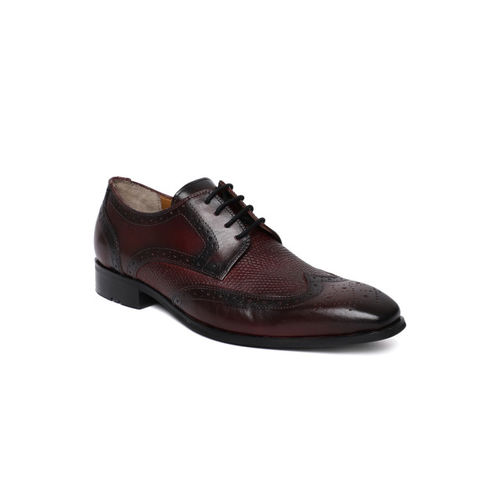 Ruosh Men Burgundy Formal Leather Brogues