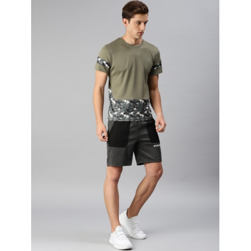 HRX by Hrithik Roshan Men Charcoal Solid Regular Fit Sports Shorts