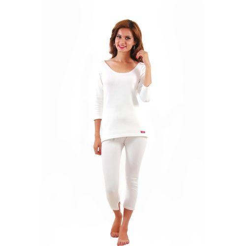 Yorker White 3/4 sleeves Women Top - Pyjama Set Thermal