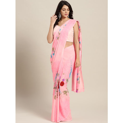 Ishin Women Pink & Green Printed Saree