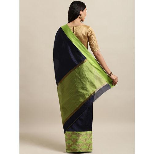Saree Swarg Navy Blue & Green Silk Blend Solid Banarasi Saree