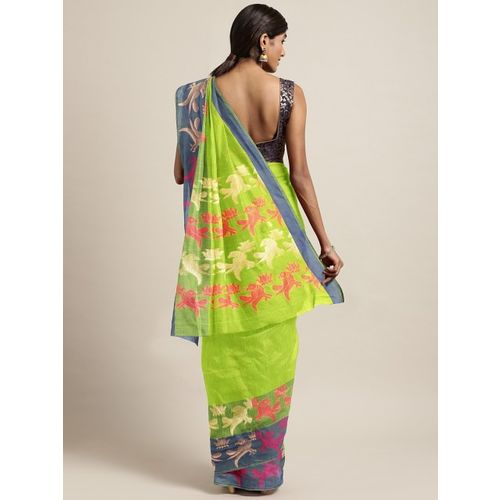 The Chennai Silks Lime Green & Blue Silk Cotton Solid Saree